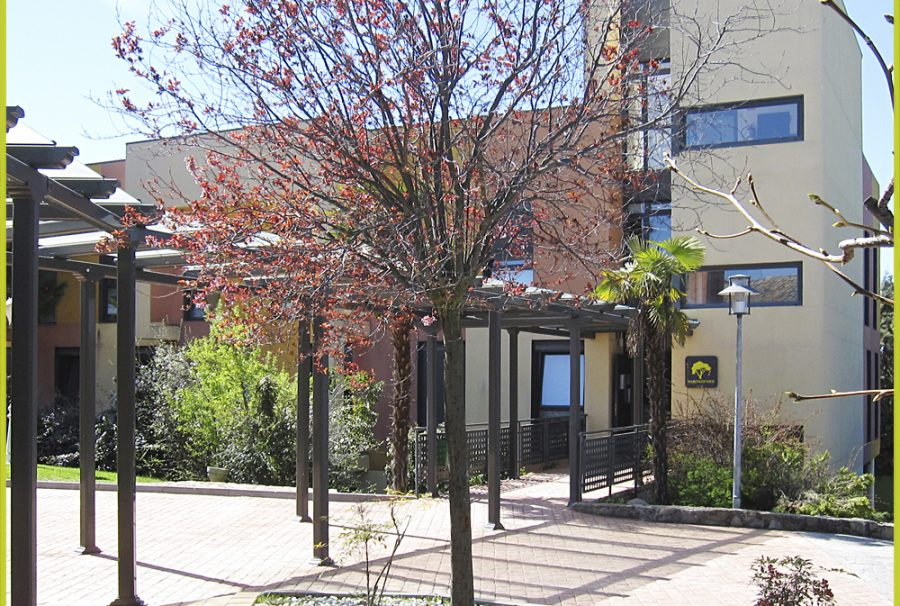 Acceso al edificio de habitaciones Residencia Universitaria Monteprincipe